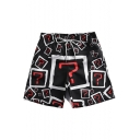 Cool Allover Question Mark Printed Drawstring Waist Guys Black Beach Shorts Swim Trunks