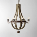 Living Room Candle Shape Chandelier Metal and Wood 8 Lights American Vintage Pendant Light