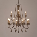 Vintage Style Candle Shape Chandelier 12 Lights Wood Pendant Lighting for Coffee Shop Restaurant