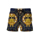 Creative Comic Character Printed Drawstring Waist Summer Navy Beach Swim Trunks for Men