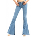 Women's Solid Color Light Blue Fashion Fringed Hem Slim Fit Flared Jeans