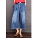Stylish Vertical Stripe Printed Washed Cotton Drawstring Waist Capri Wide-Leg Pants Jeans