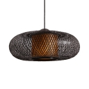 Oval LED Ceiling Light Single Light Bamboo Antique Pendant Light for Living Room Dining Room
