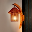 Single Light House Shape Wall Light Rustic Style Wood Wall Sconce in Brown for Dining Room Hallway