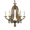 Antique Style Candle Shape Pendant Chandelier 6/8 Lights Wood Hanging Light for Coffee Shop