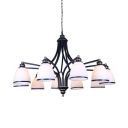 American Style Bell Shape Chandelier 10 Lights Frosted Glass and Metal Hanging Light for Dinging Room Living Room