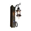 Lantern Wall Light with Wood Backplate Single Light Rustic Lodge Wall Lamp in Aged Bronze