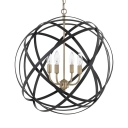 Black Strap Globe Ceiling Pendant 4 Lights Vintage Metal Lighting Fixture for Dining Table