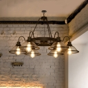 Metal Mesh Flared Chandelier 6 Lights/8 Lights Industrial Pendant Lighting in Black with Gooseneck