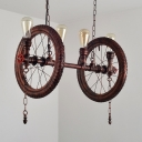Wheel Island Lighting with Hanging Chain 4 Lights Industrial Metal Island Ceiling Light in Rustic Copper for Coffee Shop