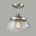 Nickle Schoolhouse Ceiling Light Outdoor Single Light Industrial Closed Glass Semi Flush Light