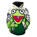 Cute Cartoon Green Frog Printed Unisex Casual Loose Hoodie