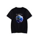 Unique Funny Cartoon Figure Earth Print Short Sleeve Unisex T-Shirt