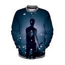 Hot Fashion Galaxy Figure Printed Rib Stand Collar Blue Button Down Baseball Jacket