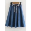 Fashion Bow-Tied Waist High Rise Solid Color Midi A-Line Denim Skirt for Girls