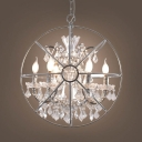 Metal Orb Chandelier 6 Lights Elegant Pendant Lighting with Clear Crystal Decoration for Hotel Restaurant