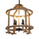 Rustic Style Beige Chandelier with Candle 4 Lights Rope and Metal Pendant Lamp for Restaurant Cafe