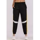 Women's Stylish Tape Patched Elastic Waist Gathered Cuff Black Sport Track Pants