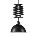 Black/White Dome Shade Extendable Pendant Light Industrial Glass 1 Light Hanging Lighting for Cafe Restaurant