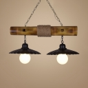 Black Scalloped Edged Island Pendant 2 Lights Rustic Style Metal and Bamboo Ceiling Light for Living Room