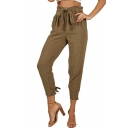 Womens Basic Solid Color Tied Waist High Rise Bow-Tied Cuff Carrot Pants Tapered Trousers