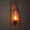 Antique Style Kerosene Wall Light Single Light Wood and Glass Sconce Light for Hallway Living Room
