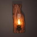 Antique Style Kerosene Wall Light Single Light Wood and Glass Sconce Light for Hallway Living Room