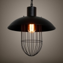 Industrial Pendant Light with Iron Wire Single Light Metal Ceiling Pendant in Black for Coffee Shop