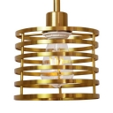 Industrial Drum Pendant Light Metal Single Light Brass Hanging Light for Restaurant Bar