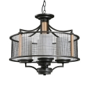 Drum Living Room Foyer Chandelier with Wire Mesh Metal 4 Lights Classic Suspension Light in Black