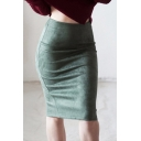 Women's Trendy Solid Color Slit Back High Rise Midi Bodycon Suede Skirt