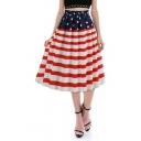 Independence Day Stripe Star Flag Printed Midi Flared Skirt