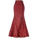 Women's Vintage Floral Printed Lace-Up Side Maxi Victorian Fishtail Skirt