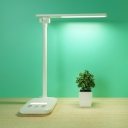 White Eye-Caring LED Desk Light Energy Saving Rotatable Foldable Study Light with Plug in Cord/USB Charging Port