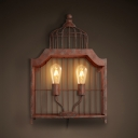 Rust Birdcage Shape Sconce Light 2 Lights Rustic Style Metal Wall Light for Balcony Hallway