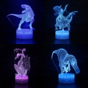 4 Dinosaur Pattern 3D Night Lamp Boy Bedroom Decor 7 Color Changing LED Illusion Lamp with Touch Sensor