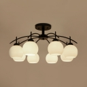 Restaurant Foyer White Globe Semi Flush Mount Light Metal and Frosted Glass 8 Lights Rustic Style Light Fixture
