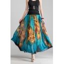 Fashion Blue Peacock Feather Tribal Printed Drawstring Waist Two-Way Maxi Flowy Skirt