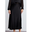 Women's New Trendy Solid Color Bias Cut Silk Satin Black Midi Skirt
