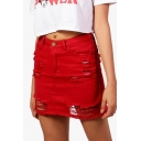 New Fancy Red Destroyed Ripped Frayed Hem Mini Bodycon Denim Skirt
