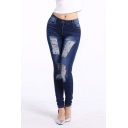 Womens Dark Blue Destroyed Ripped Stretch Skinny Fit Jeans