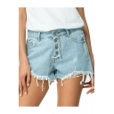 Womens Summer Light Blue Fashion Button Fly Ripped Frayed Hem Denim Shorts