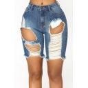 Summer Street Fashion Cool Big Hole Distressed Ripped Womens Skinny Light Blue Denim Shorts