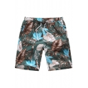 Guys Summer Green Tropical Plants Printed Casual Cotton Hawaii Beach Shorts Swim Shorts