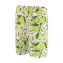 Summer Fashion Allover Pear Print Men's Holiday Beach Shorts Swim Trunks with Lining
