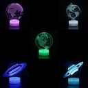 Planet/Earth Pattern 3D Illusion Light 7 Color Changing Touch Sensor LED Night Light for Bedroom Bathroom