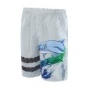 Cute Elastic Shark Swim Trunks for Men with Mesh Lining and Pockets