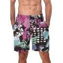 Men's New Colorful 3D Print Elastic Waist Swim Shorts