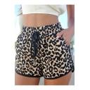 Trendy Khaki Leopard Printed Drawstring Waist Sport Loose Dolphin Shorts