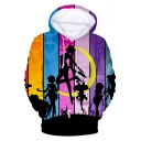 Popular Comic Girl Sailor Moon Print Colorblock Stripe Pullover Hoodie